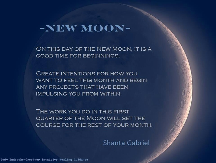 On the day of the New Moon, is it a good time for beginnings. Create intentions for how you want to feel this month and begin any projects. The work you do in the first quarter of the moon will set the course for the rest of your month.