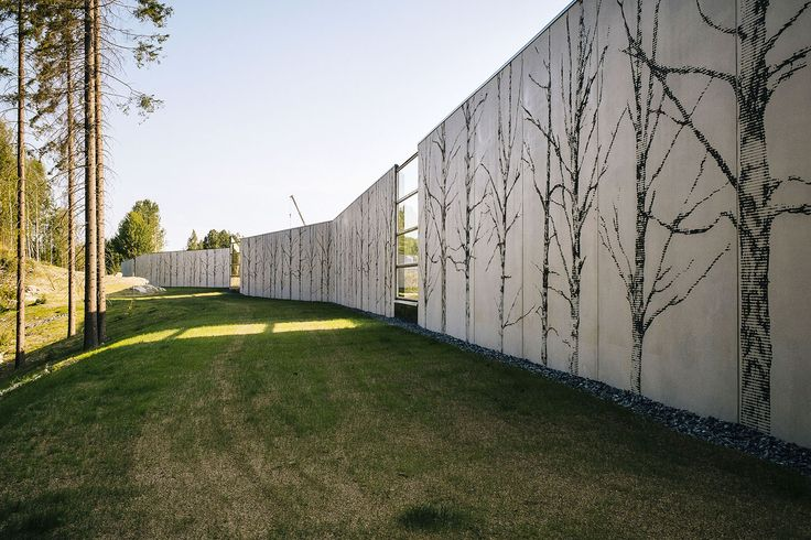 Pihlajalaakso Sound Barrier, Kuopio, Finland 2014. Architect: Ramboll Finland Oy, design/graphics: Teemu Matilainen/Ramboll Finland Oy and Graphic Concrete, prefabrication: Betonimestarit Oy.