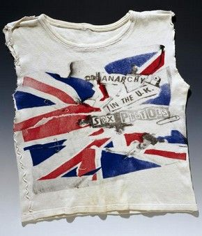 Vintage Sex Pistols T-shirt, designed by Vivienne Westwood and Jamie Reid, customised by Johnny Rotten, late 1970s. V