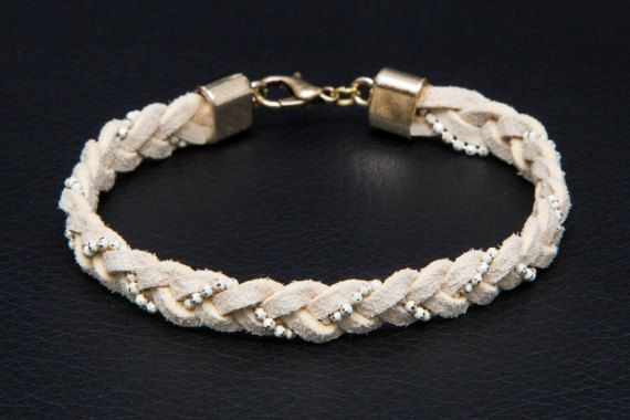 Leather Braided Bracelet Cuff Bracelet Beige by MindTheGrace