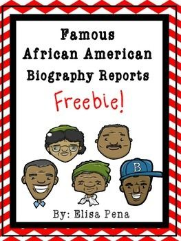 Famous African American Biography Report Freebie! This freebie is perfect for President's Day and Black History Month | by Elsa Pena
