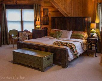 Mountain Man récupéré rustique 4 tiroir lit de plate-forme