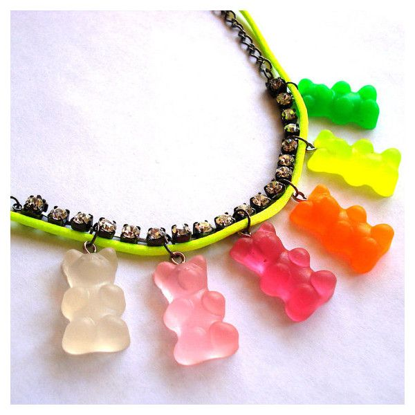 Neon Gummy Bears Necklace ❤ liked on Polyvore featuring jewelry, necklaces, bear necklace, bear jewelry, neon necklace and neon jewelry