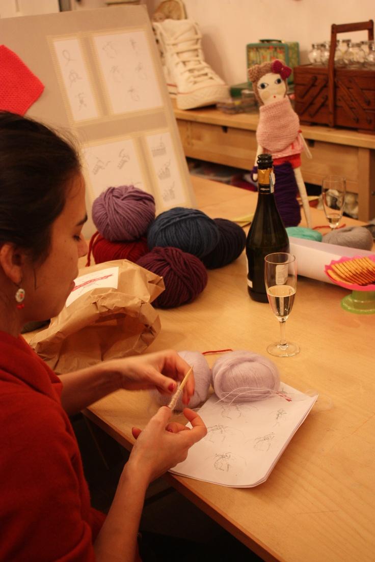Apéro tricot à l'atelier... :)