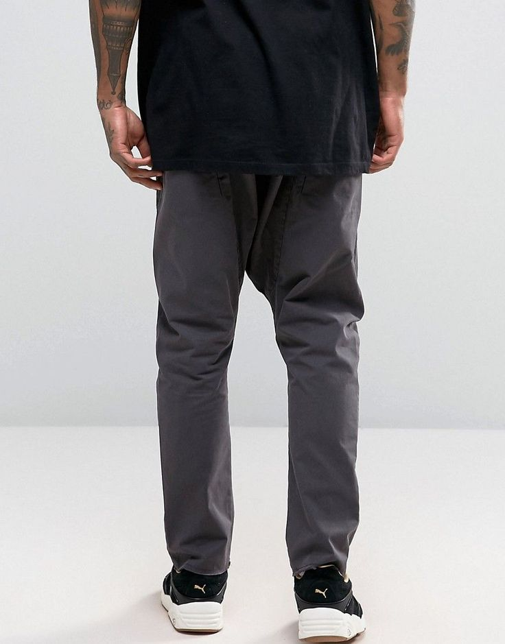 ASOS Drop Crotch Joggers With Elasticated Waist In Washed Black - Blac