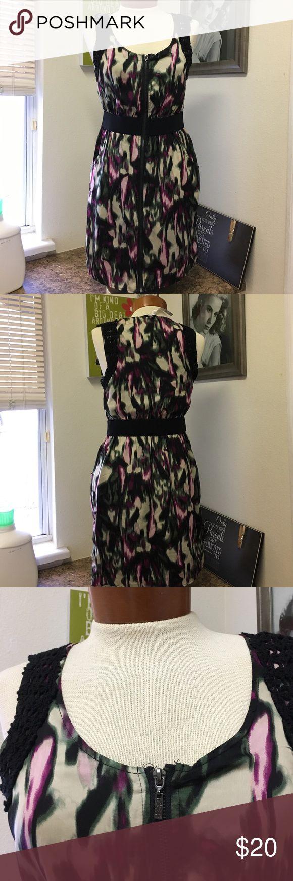 Kensie dress small Black with multi colors dress. Zip up front. Above knee length. Kensie Dresses Mini