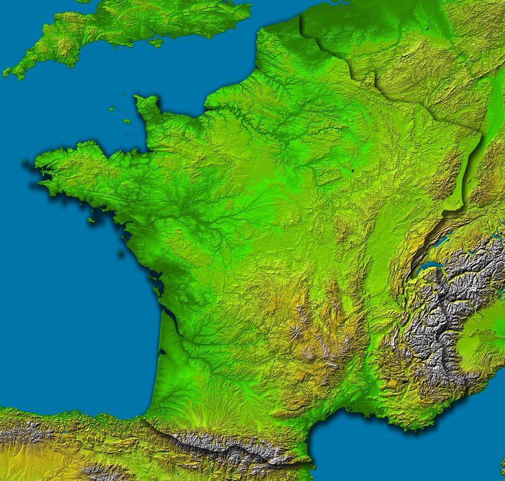 """Carte du relief français. (A méditer, lorsque la météo vous informe que """"Il va pleuvoir ou neiger sur les reliefs"""", d'autant qu'il existe aussi les reliefs sous-marins) _  #France #Maps #Cartes #Relief"""