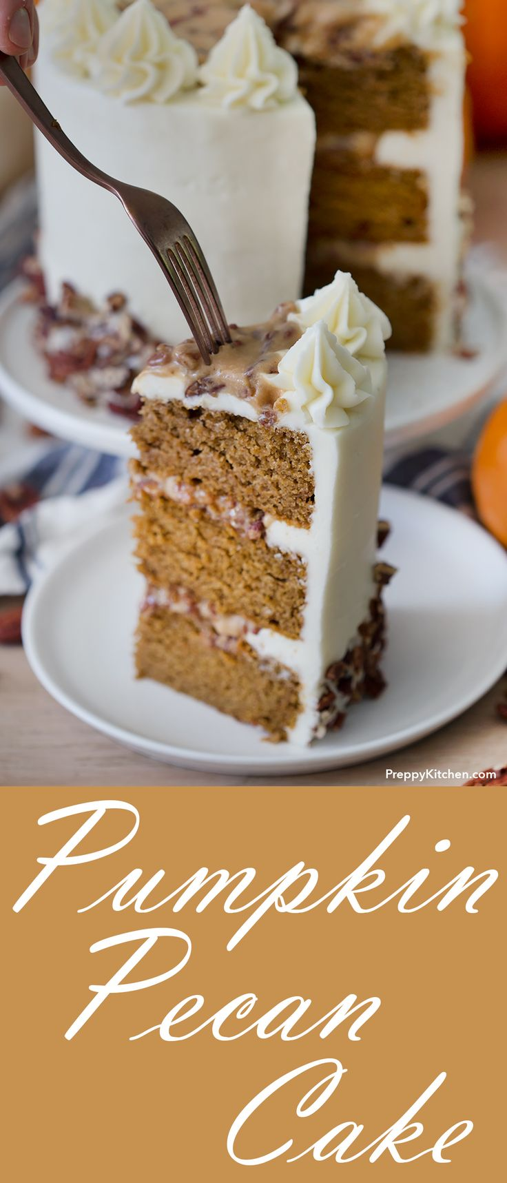 Moist pumpkin cake paired with a caramel pecan frosting and vanilla buttercream. | #cakes #pumpkin Holiday desserts, easy cake recipes, easy holiday baking