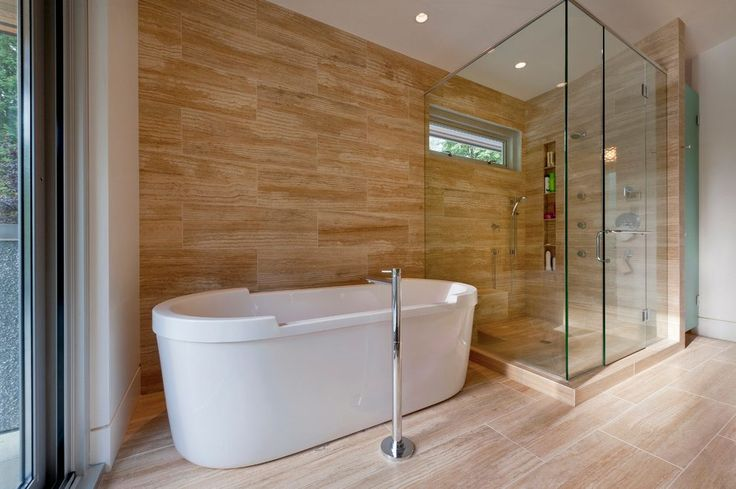 glazed porcelain wood tile shower bathroom contemporary with shower niche abstract window film