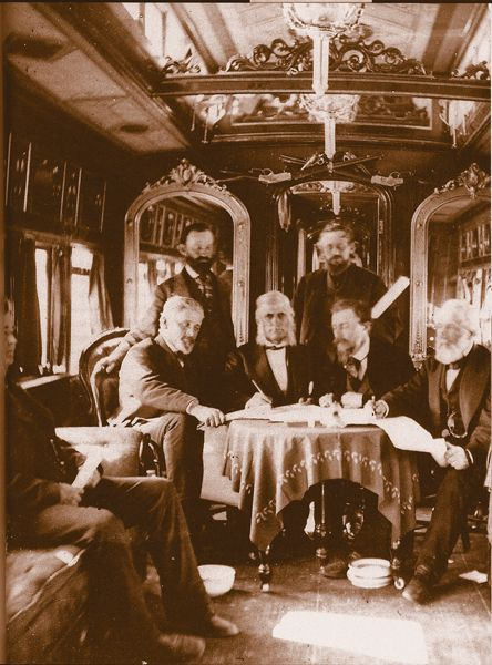 As the two railroads were set to meet in Promontory Summit, Utah, on May 8, 1869, Union Pacific Vice President Thomas C. Durant was stuck in his train. His car wheels had been chained to the tracks in Wyoming by a tie cutter crew demanding their back wages.