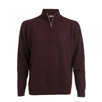 A soft lambswool 1/4 zip in a rich burgundy coloured wool. These jumpers are a regular fitting garment. Features include - tonal wolfhound embroidered on the chest and leather tab on zip.