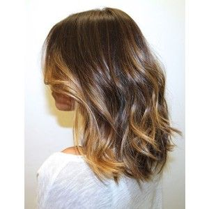 Ombre Hair Brown To Caramel To Blonde Medium Length ombre hair brow...