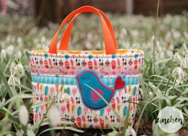 Beautiful bag made with Vintage Kitchen fabrics designed by Andrea Muller for Riley Blake Designs