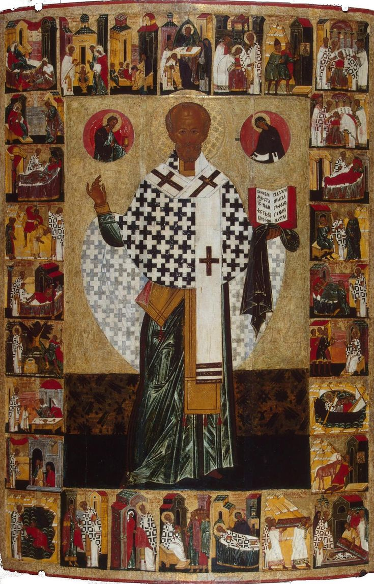 Icon: St Nicholas with Scenes from his Life Russia, First half of the 16th century Icons often combined a central depiction of a saint surrounded by scenes from his or her life, as in this excellent example from the first half of the 16th century showing St Nicholas