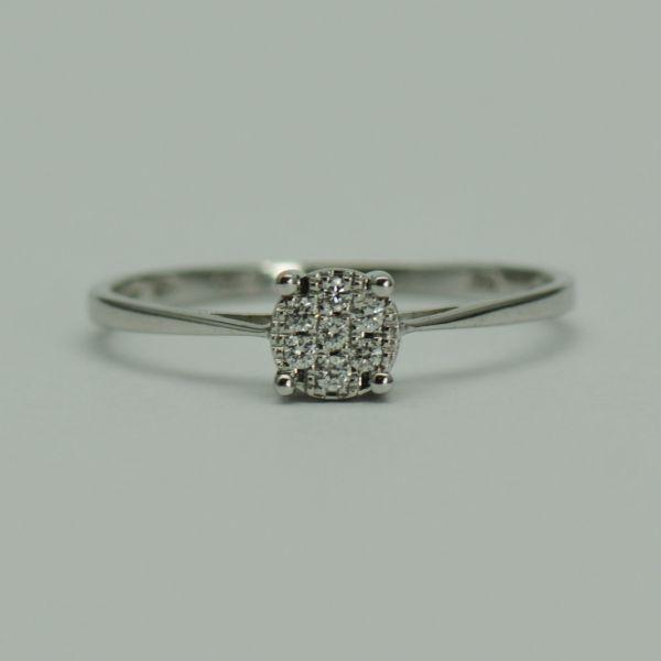 Inel de 18k aur alb cu diamante