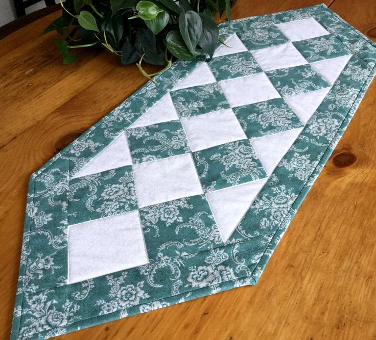 Teal Table Runner Handmade Quilted Patchwork Classic Tablecloth