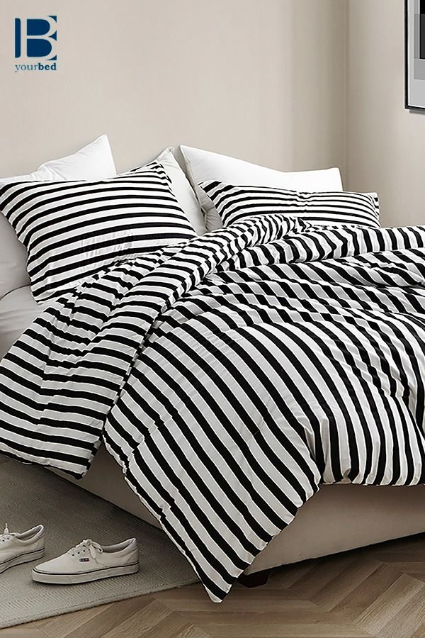 Ultra Soft King Bedding Designer Onyx Extended King Xl Comforter With Black And White Striped Design Striped Bed Sheets White Bedding Dorm Bedding