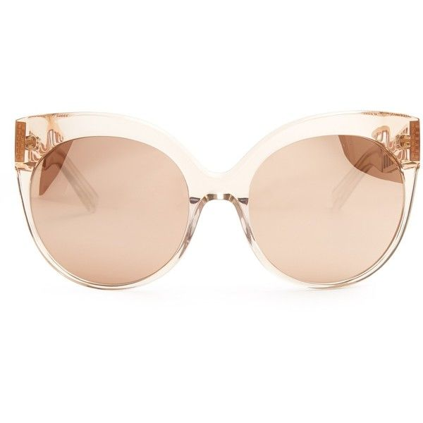 Linda Farrow MATCHESFASHION.COM found on Polyvore featuring accessories, eyewear, sunglasses, glasses, pink lens sunglasses, clear lens sunglasses, round mirrored sunglasses, pink mirrored sunglasses and round cat eye sunglasses