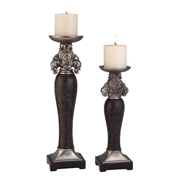 Benzara Tracey Traditional Candle Holder Set, Silver and Brown, Set of 4, Silver/Brown silver/ brown