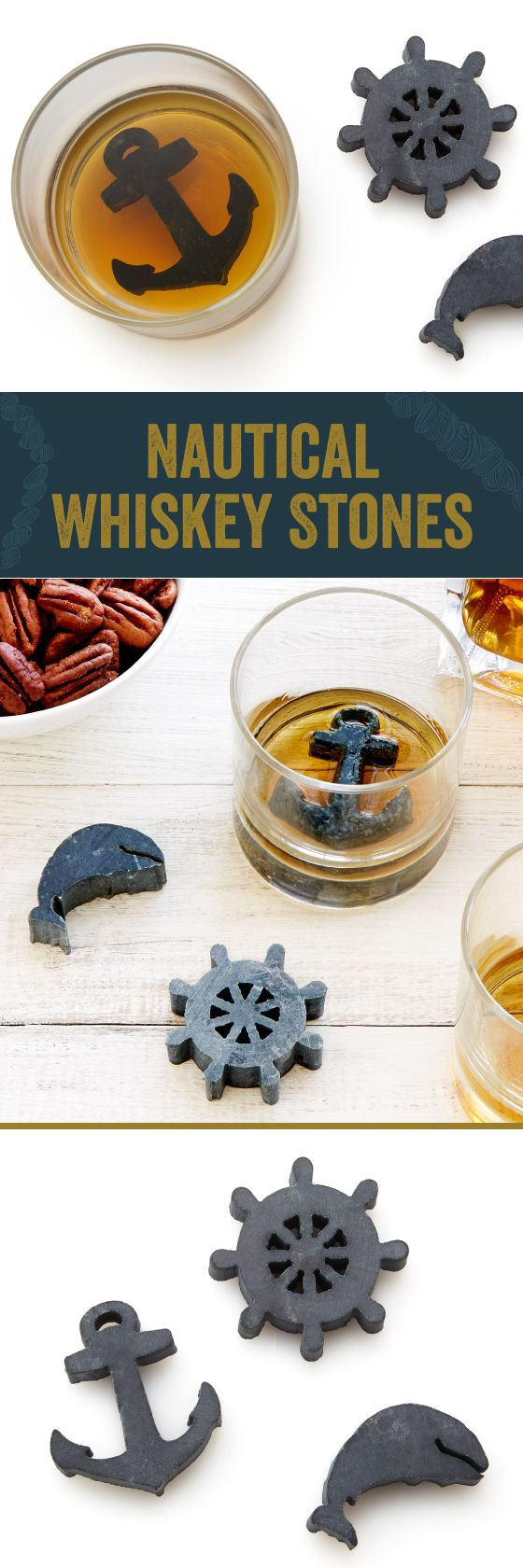 """$14.95 - Nautical-themed whiskey stones offer an alternative to ice """"rocks"""" that can sink your drink by diluting the perfect dram."""