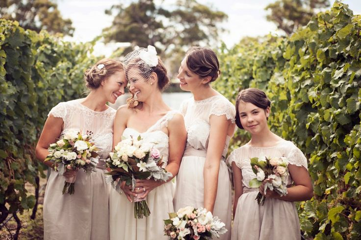 Bianca's Bridesmaids looking gorgeous in Indianna cocktails in Mocha, Bianca's dress is also Anna Campbell!