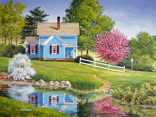 Spring Magic by John Sloane ~ blossoming trees in the country