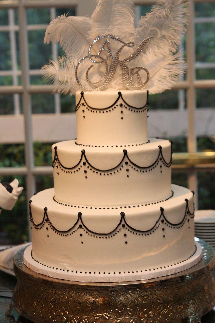 My beautiful Gatsby inspired wedding cake. Great Gatsby Cake. Custom cake topper (Crafty Eddy & my mom). Cake: Cakes by Darcy Roswell GA. Flint Hill Wedding Venue. Kyle & Amanda 9.21.14