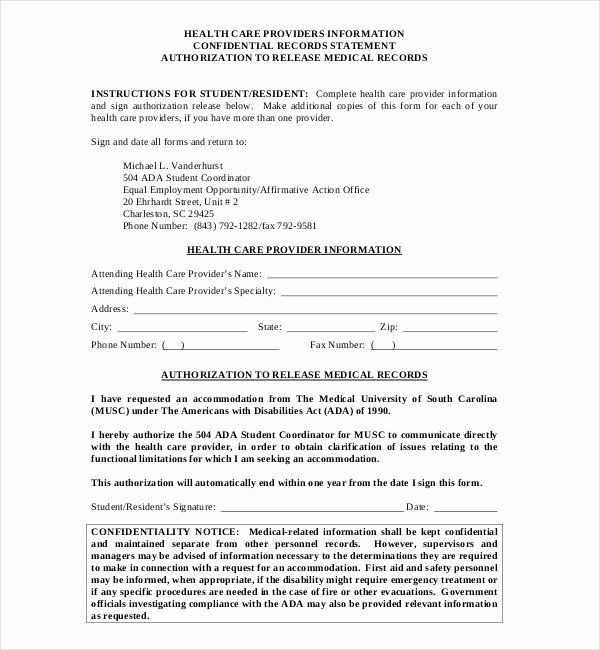 Medical Record Release Form Elegant Free 19 Sample Medical Records Release Forms Medical Records Job Application Template Records