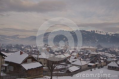 Vama, typical village snow covered during the winter season in the region of Bucovina, Romania