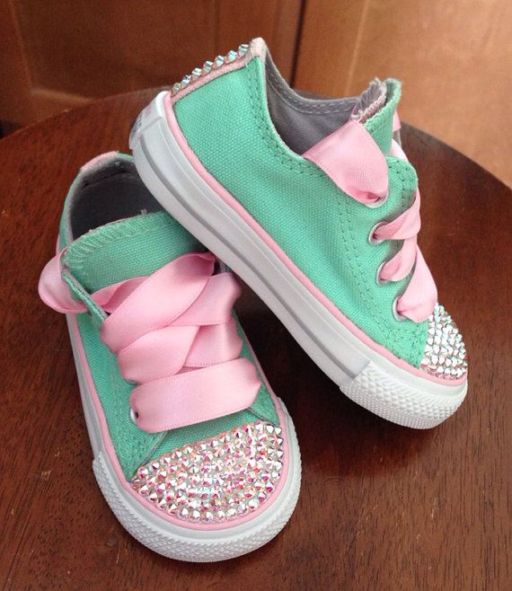 Tiffany blue and Pink Bling Converse by Munchkenzz on Etsy, $65.00 - ohmygod so cute! @atjj do you think we could DIY these? I'm scared to mess em up! lol