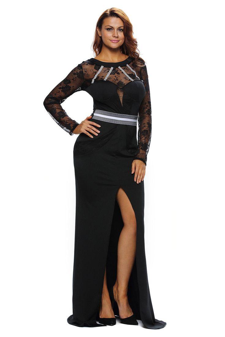 Abito lungo da sera vestito elegante donna cerimonia maniche lunghe nero DS61352…