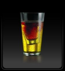 VEGAS BOMB: 1/2 oz Malibu Rum 1/2 oz Peach Schnaps Fill with red bull Drop a shot of crown royale into cup and chug