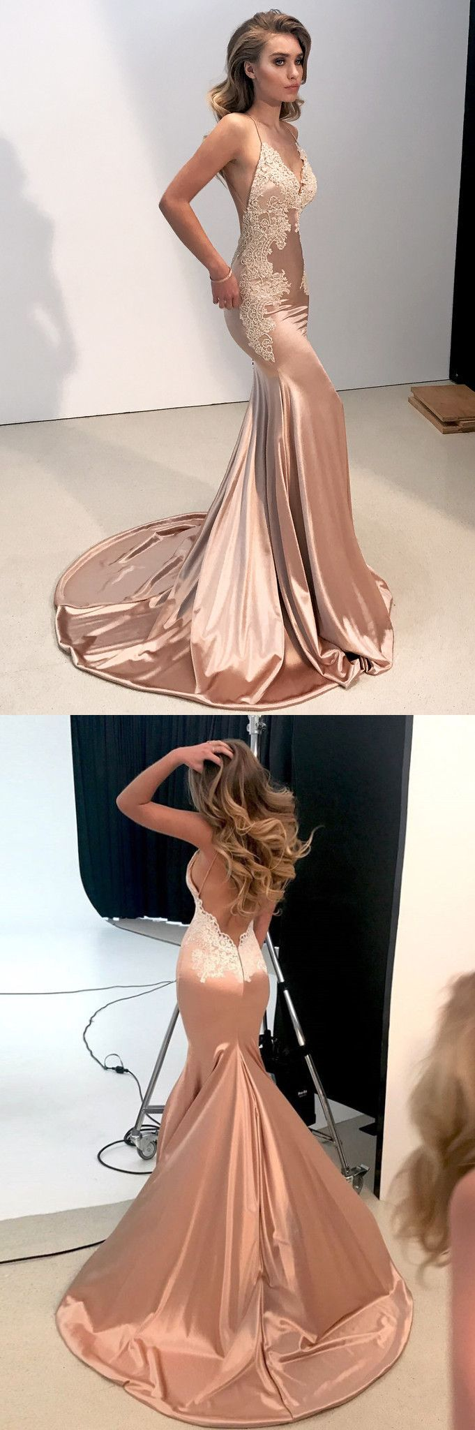 Sexy Straps V Neck Mermaid Long Evening Dress with Open Back #EveningDresses
