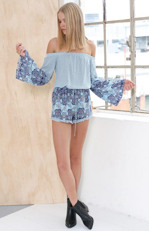 Nadya Playsuit Blue   Beginning Boutique