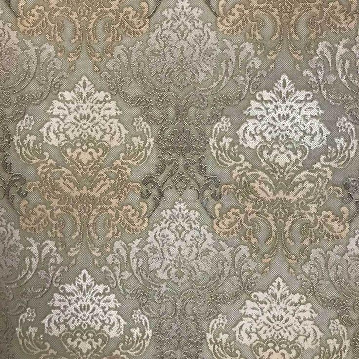 6513-08 Damask Olive Cream Wallpaper