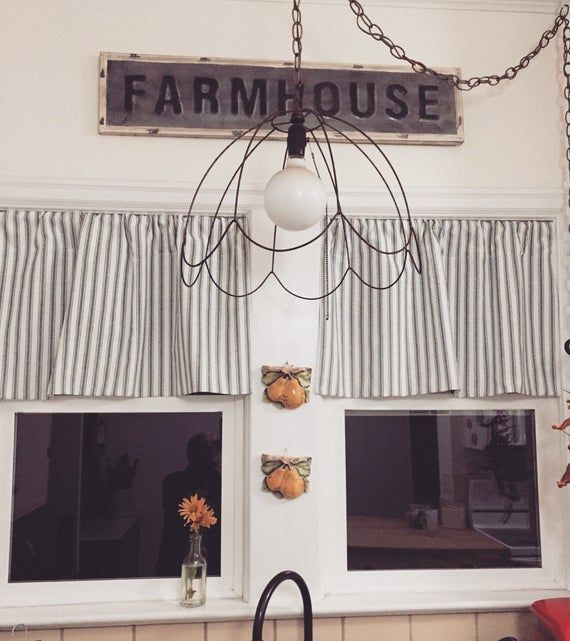 Ticking Valance Farmhouse Curtain Farmhouse Curtains Farmhouse Kitchen Curtains Kitchen Valances