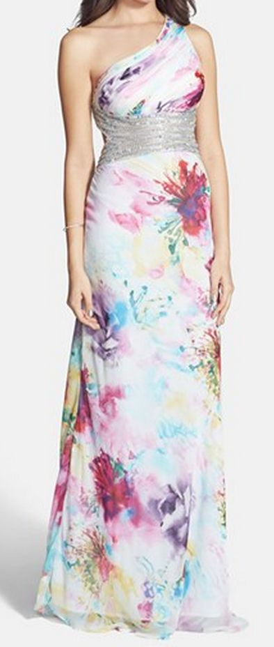 embellished floral print one-shoulder dress  http://rstyle.me/n/vz4iipdpe