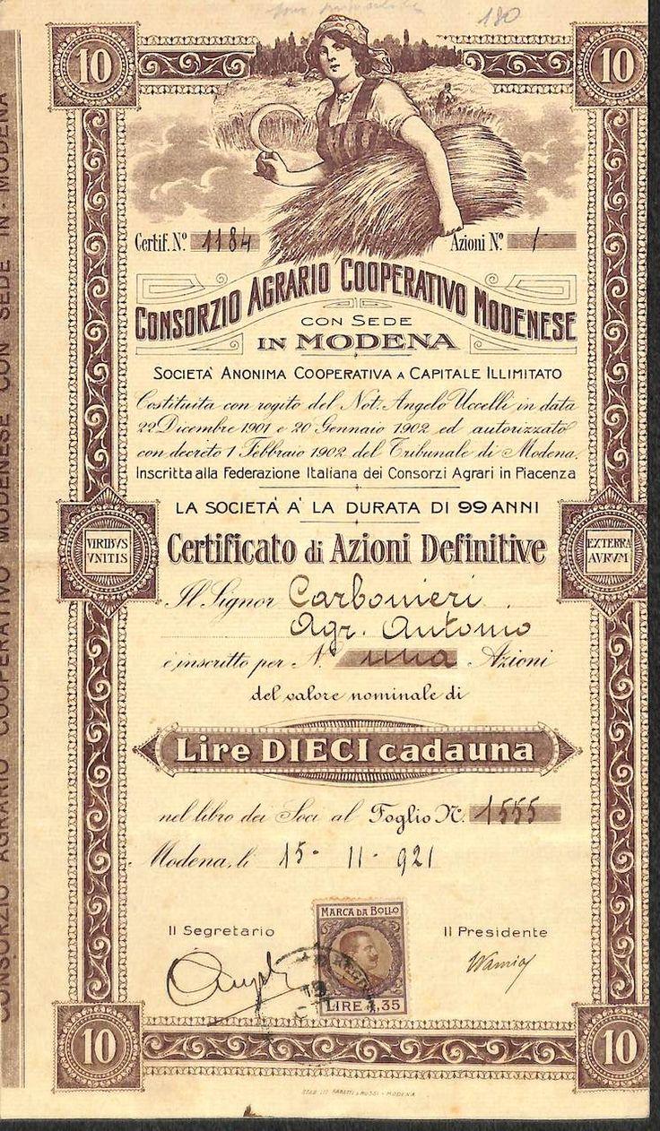 CONSORZIO AGRARIO COOP. MODENESE - #scripomarket #scriposigns #scripofilia #scripophily #finanza #finance #collezionismo #collectibles #arte #art #scripoart #scripoarte #borsa #stock #azioni #bonds #obbligazioni