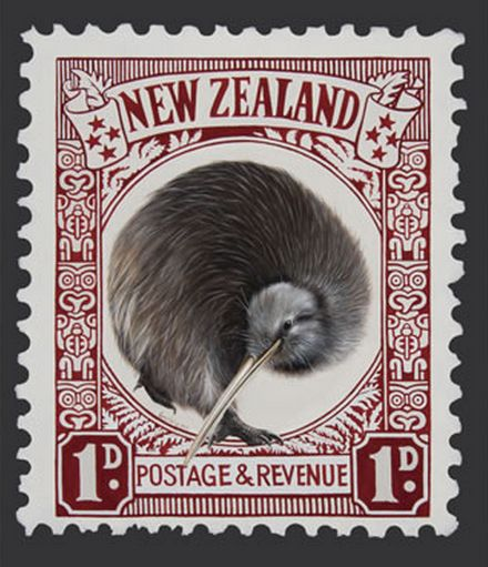 Kiwi bird Postage Stamp - by Jane Crisp note-card from imagevault.co.nz