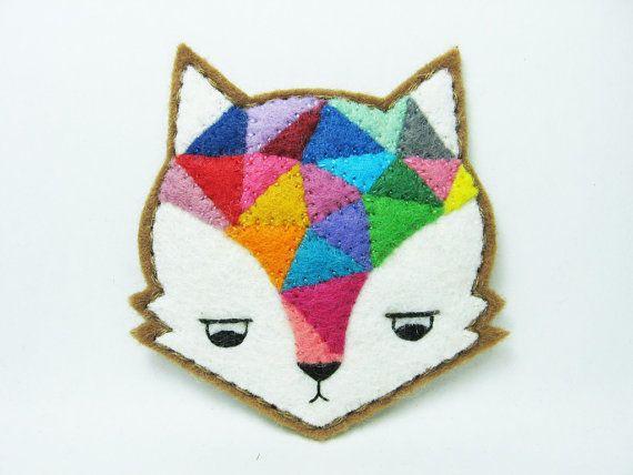 Annoyed urban fox felt pin