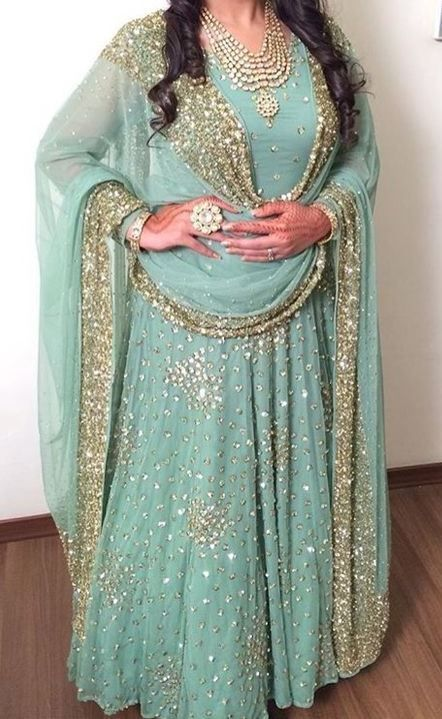 FatimaBi Plus size Dresses Sea blue Floor Length Anarkali Suit Muslim Nikaahwear | Clothing, Shoes & Accessories, Cultural & Ethnic Clothing, India & Pakistan | eBay!