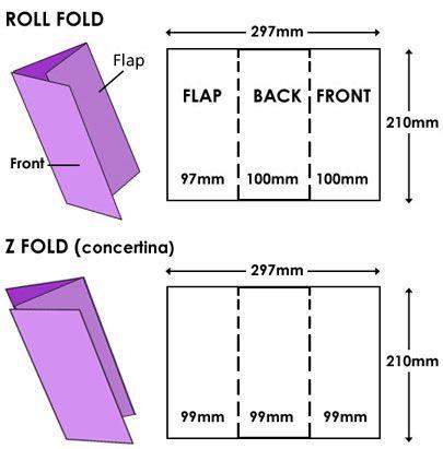 DL leaflets, z fold and roll fold