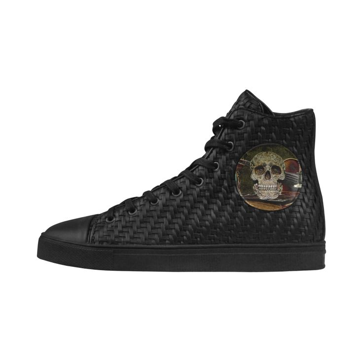 Funny Skull and Book Vega Woven PU Leather Women