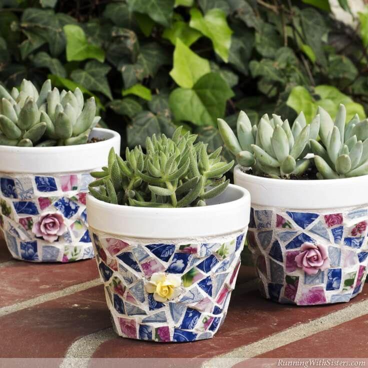 Mosaic Pots Trio: How To Make Broken China Mosaics