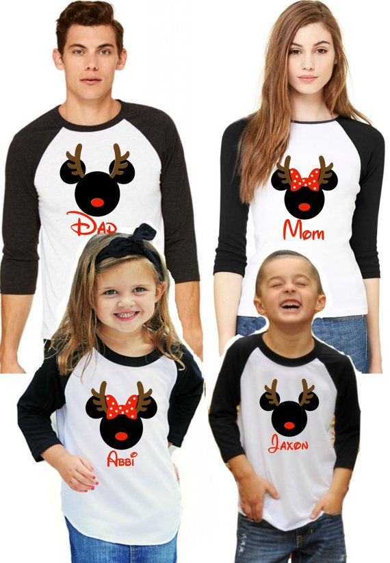 Christmas Family Disney Shirts - Family Vacation - Personalized Name - Reindeer Adult Child Baby Raglan