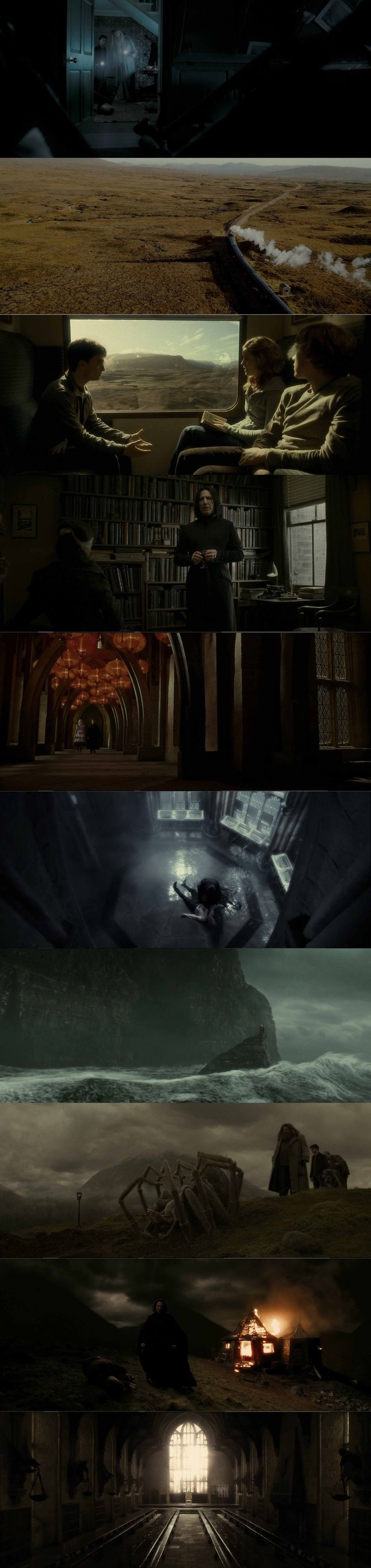 Harry Potter is a very mysterious film with the help from the cinematography. The shots i personally like is where the protagonists are on the train while in the centre of the shot you can see the empty background of fields within the same shot which could suggest that there is no escape.