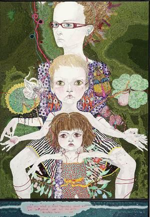 Del Kathryn Barton, You are what is most beautiful about me, a self portrait with Kell and Arella, 2008