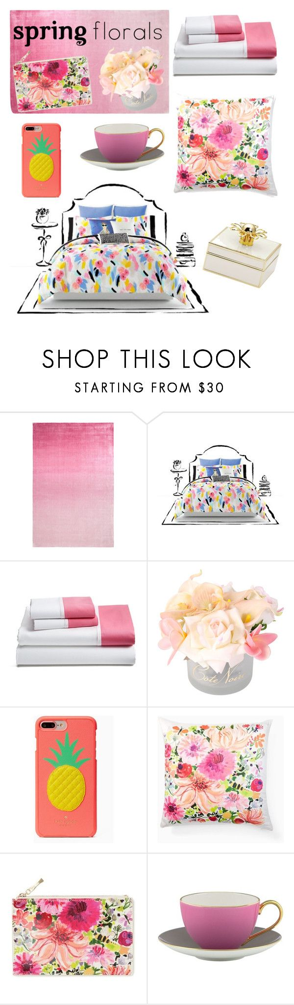 """Kate spade themed room ♠️"" by fashion0203 ❤ liked on Polyvore featuring interior, interiors, interior design, home, home decor, interior decorating, Designers Guild, Kate Spade and springflorals"