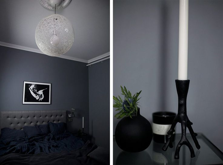 Dark grey bedroom painted in Beckers color Gnejs 762. Styled by blogger Linn Herbertsson.