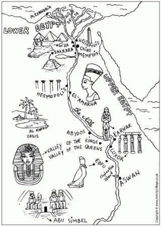 Several Ancient Egypt Colouring Pages (map, Egyptian Children, canopic jars, death mask, sarcophagus, sphinx, king tut)